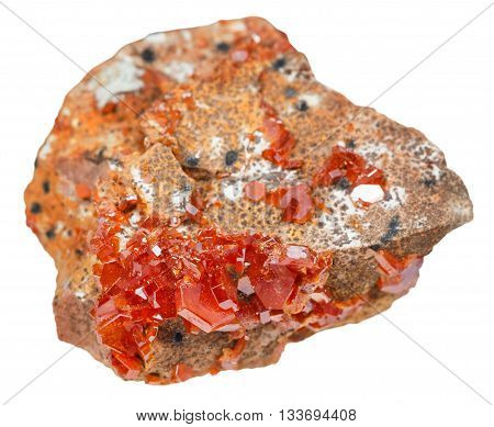 Red Vanadinite Crystals On Mineral Stone Isolated