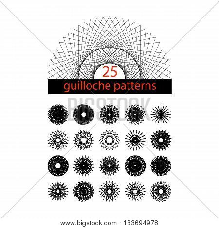 25 guilloche symbols. Spirograph collection. Vector isolated illustration.
