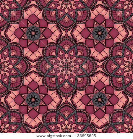Oriental seamless pattern of mandalas. Vector vinous background. Template for textile carpet wallpaper stained glass shawls.
