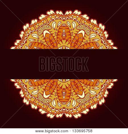 Colorful Ornamental Ethnic Card With Mandala. Template With Doodle Tribal Mandala. Vector Illustrati