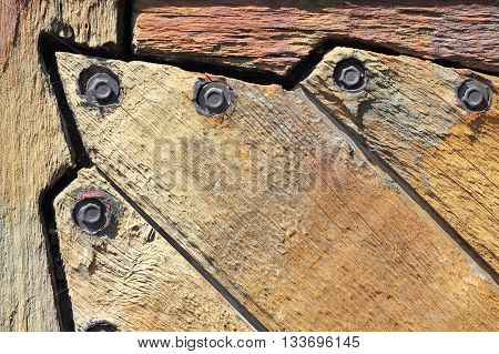 Detail of a historic wooden sluice gate in Mecklenburg in Germany built in 1894 and in 1989 renovated