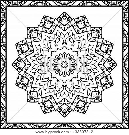 Oriental pattern of mandalas. Vector black and white background. Template for textile carpet coverlet shawls.