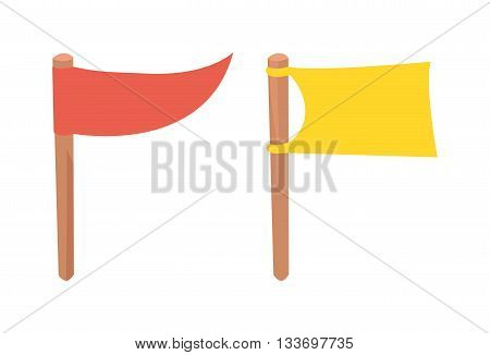 Blank white flag isolated and flag isolated illustration on white background. Scout flag isolated and camping red flag isolated vector symbols. Red plain flagpole, yellow wavy motion flag design.