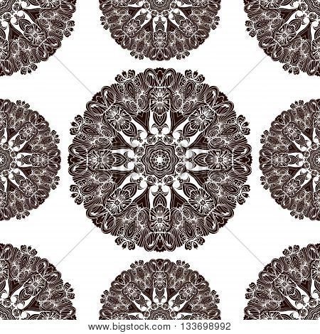 Mandala ethnic ornament. Isolated vector illustration in zentangle style. Headwear or neckwear design.Seamless pattern.