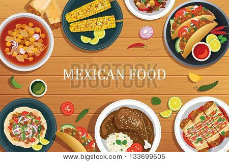 Mexican food on a wooden background.Vector mexican food top view.
