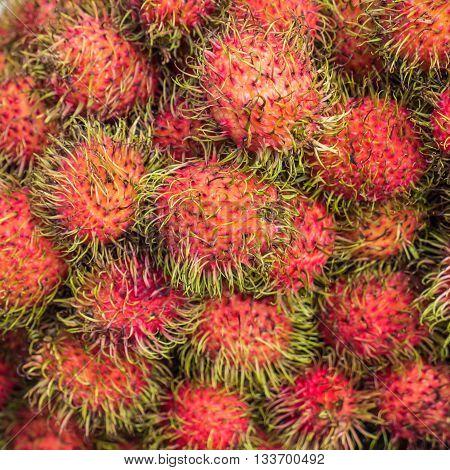Rambuton, tropical fruit in Thai local market