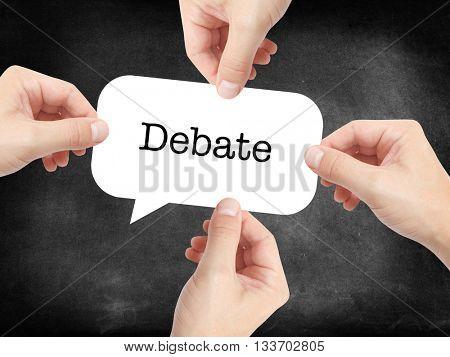 Debate written on a speechbubble