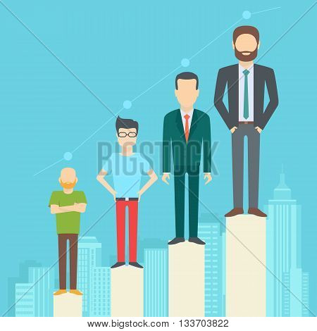 Set of business people collection of diverse characters in flat cartoon style on the city background vector illustration