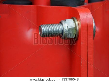 Connection of the painted metallic parts into a single structure with bolt and nut
