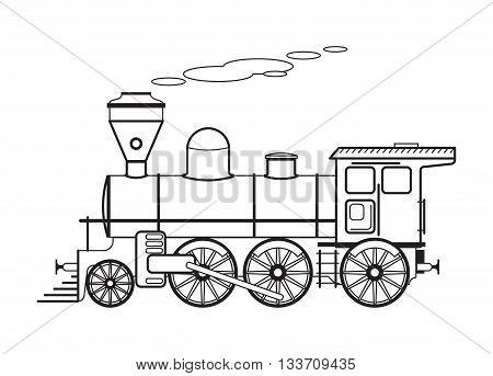 Steam old locomotive. Vector illustration, vintage style