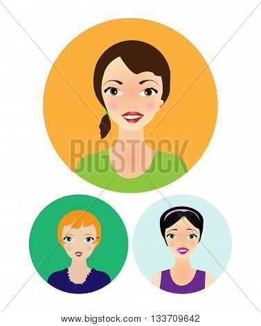 vector illustration:drawn faces of smiling young women