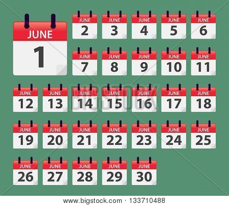 Vector stock of June Daily Calendar template icon collections