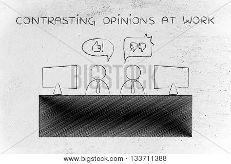 Colleagues Expressing Contrasting Opinions At Work