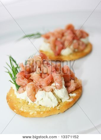 Cracker With Shrimps And Cream Cheese