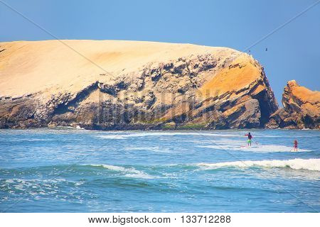 Rock Formations And Waves In Punta Hermosa, Peru