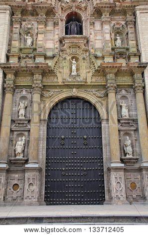 Main Entrance Portada Del Perdon Of Lima Cathedral In Peru.