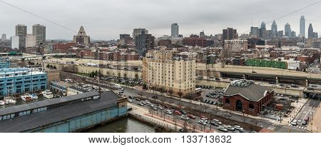 Philadelphia - April of 2015, Pennsylvania state, USA: Panorama of Philadelphia in cloudy day