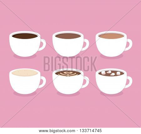 Different types of coffee: espresso cappuccino latte hot chocolate with marshmallows. White coffee cups vector illustration. Flat icon set.