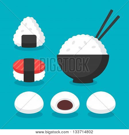 Japanese cuisine rice dishes icon set. Bowl of rice with chopsticks onigiri and sushi mochi rice cakes or dumplings. Flat cartoon vector icons.