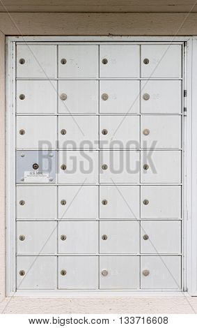 Metal mailbox container for townhouses in development in USA poster