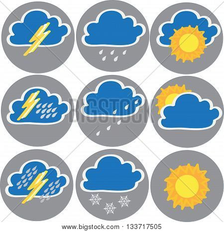 Nine icons of weather: clouds, sun, rain, terrible storm. Vector illustration.