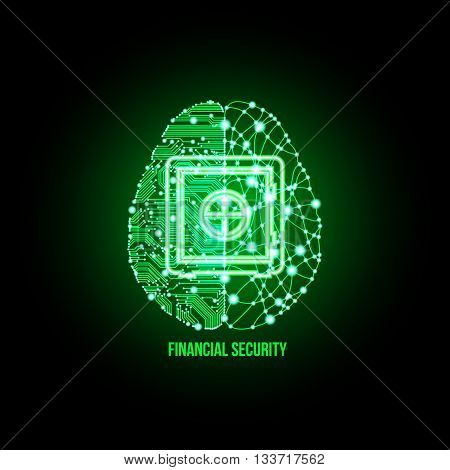 Cold analysis and bursting creativity paired together in financial security concept. Analytical brain. Creative brain. Analytical thinking Creative thinking. Financial security. Business security.