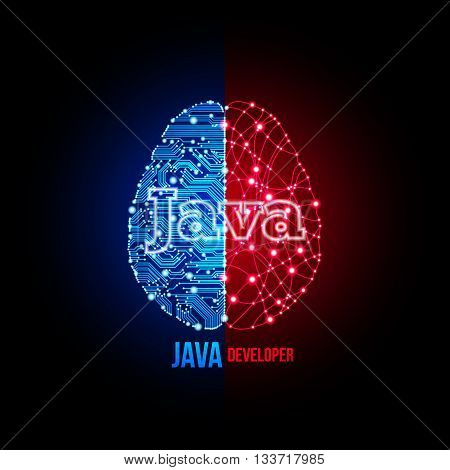 Cold analysis and bursting creativity paired together in java developer concept. Java programmer. Java architect. Java development. Java programming poster