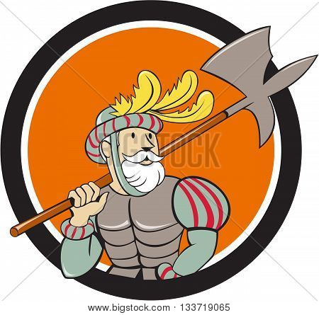 Illustration of a spanish conquistador holding ax sword lance on shoulder looking to the side viewed from front set inside circle done in cartoon style.