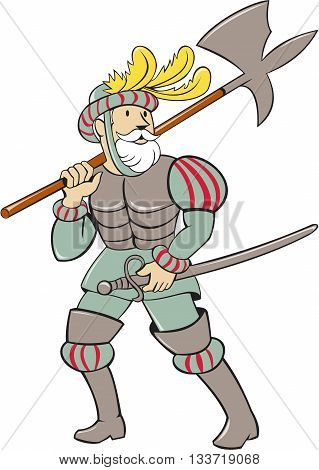 Illustration of a spanish conquistador standing walking holding ax lance on shoulder and sword in the other hand looking to the side viewed from front set on isolated white background done in cartoon style.
