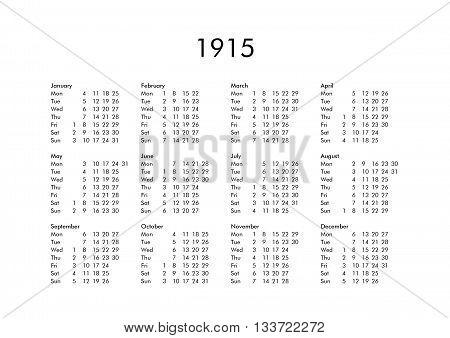 Calendar Of Year 1915