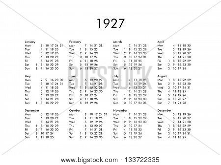 Calendar Of Year 1927