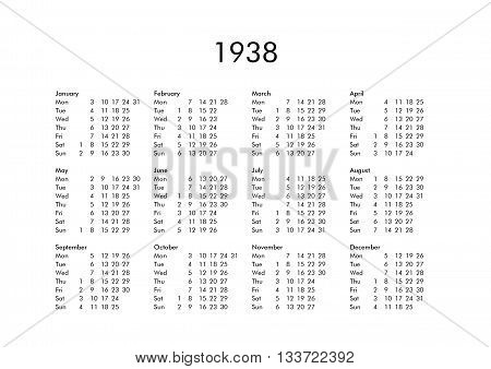 Calendar Of Year 1938
