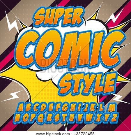 Alphabet in the hero style of comics, pop art. Letters and figures for decoration of kids' illustrations, websites, posters, comics and banners.