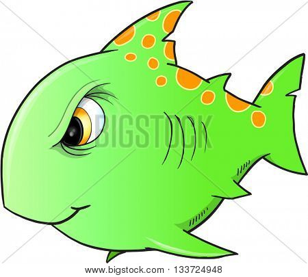 Tough Green Shark Vector Illustration
