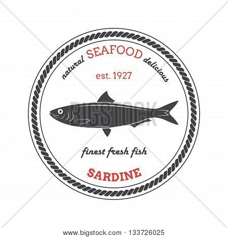 Vector sardine silhouette. Sardine label. Template for stores markets food packaging. Seafood illustration.
