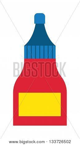 Glue tube cartoon box flat vector illustration. Vector illustration of tube with super glue. Glue tube repair liquid. Glue tube box