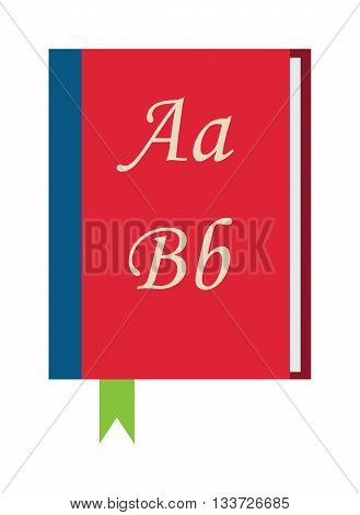 Red book dictionary on white background. Dictionary vector red book. Cover paper education red book and learning hardcover dictionary. Empty read red book