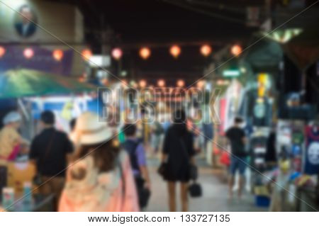 Blurred night huahin market , background , thailand