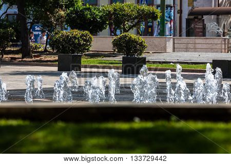 Rossio square with fountain located at Baixa district in Lisbon Portugal
