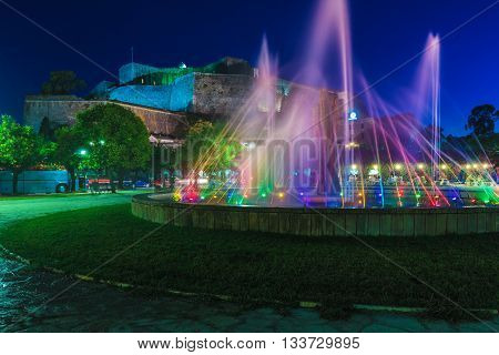 Colored Water Fountain At Night, Corfu City