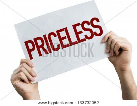 Priceless placard isolated on white background