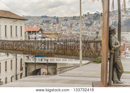 QUITO, ECUADOR, OCTOBER - 2015 - Square and hill with houses at background at the historic center of Quito in Ecuador.