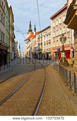 OLOMOUC, CZECH REPUBLIC - JUNE 04, 2016: Street in the old town of Olomouc, Czech Republic on June 04, 2016.