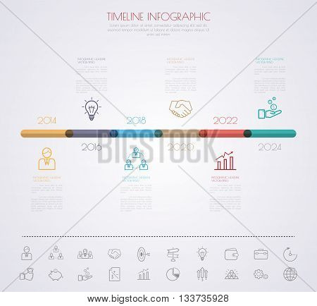 Color Step Design With Colour Icon Timeline Template/graphic Or Website