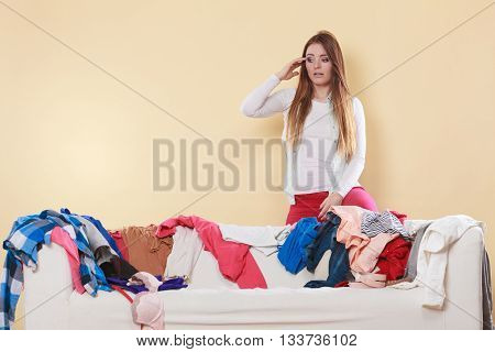 Desperate Helpless Woman In Messy Room Home.