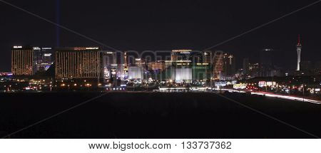 LAS VEGAS, NEVADA, MAY 24. Las Vegas Boulevard on May 24, 2016, in Las Vegas, Nevada. A view of the south end of Las Vegas Boulevard looking north at night in Las Vegas Nevada.