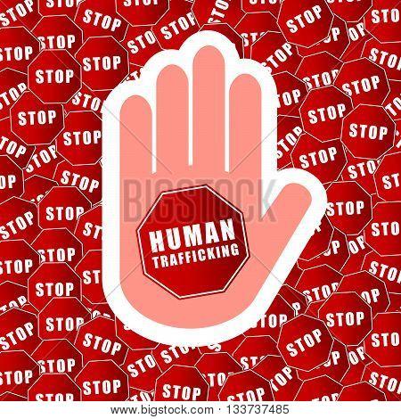 Stop Humain Trafficking Background Illustration