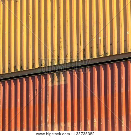 Industry maritime commerce concept. Colorful containers stacked in port. Cargo terminal image.