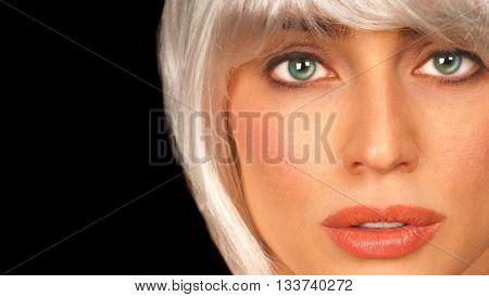 Beautiful Closeup of Blond Glamour Model on Black