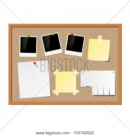 Empty photo frames paper notes and yellow stickers attached to cork message board. Stock vector illustration.